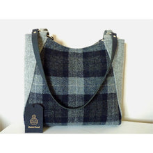 Load image into Gallery viewer, Harris Tweed Embsay large tote bag, shopping bag - blue and grey check