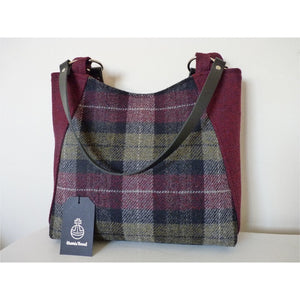 Harris Tweed Embsay tote bag, shopping bag - burgundy and green check