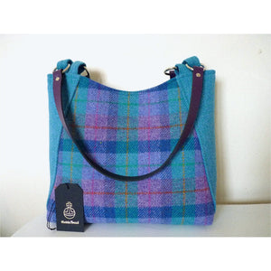 Harris Tweed Embsay tote bag, shopping bag - mint and purple check