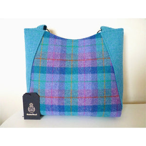 Harris Tweed bag, large tote bag, shopping bag in mint and purple check
