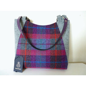 Harris Tweed Embsay tote bag, shopping bag - bright multi check and grey