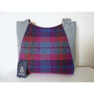 Harris Tweed bag, large tote bag, shopping bag in a bright purples multi check and grey