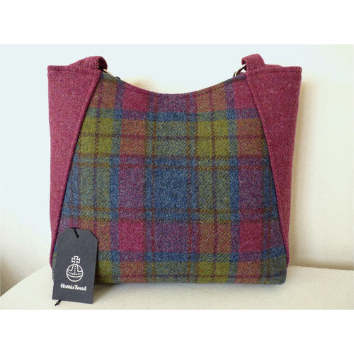Harris Tweed bag, large tote bag, shopping bag in blue and raspberry multi check with a magnetic closure
