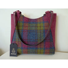 Load image into Gallery viewer, Harris Tweed Embsay tote bag, shopping bag - raspberry pink multi check