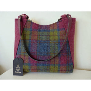Harris Tweed Embsay tote bag, shopping bag - raspberry pink multi check