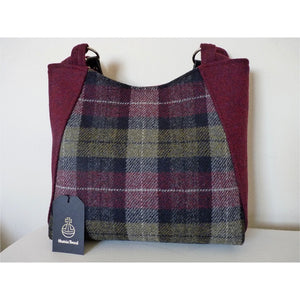 Harris Tweed bag, large tote bag, shopping bag in burgundy and green check