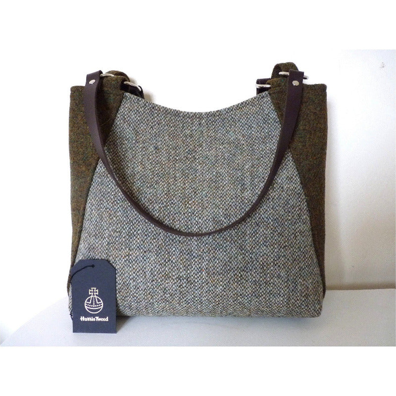 Harris Tweed Embsay Tote Bag - Green & Brown Mix - Magnetic snap - Zip