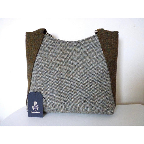 Harris Tweed bag, large tote bag, shopping bag in green brown mix barleycorn
