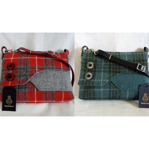 Harris Tweed Brancaster shoulder bag, crossbody bag - blue green and gold check
