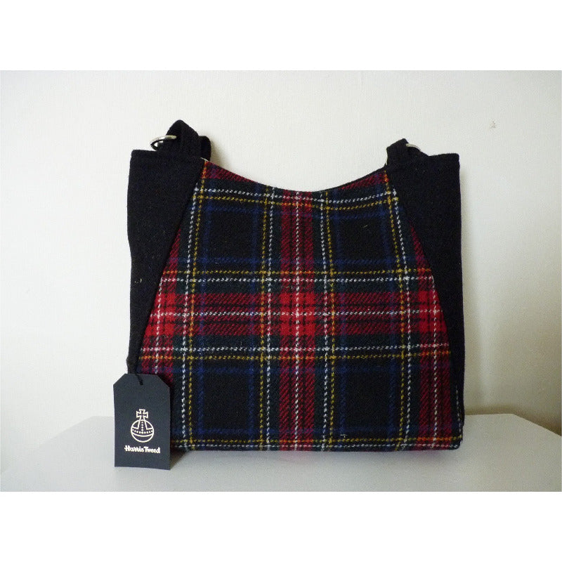 Harris Tweed bag, large tote bag, shopping bag in red and black multi check