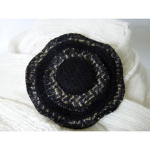 Load image into Gallery viewer, Harris Tweed three layer brooch lemon, black and grey tile effect twill with a 29mm plain black self cover button.