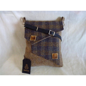 Harris Tweed Mortson Quay Messenger Bag, Crossbosy Bag – Chalky Blue & Check