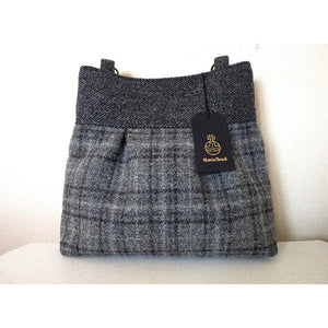 Harris Tweed bag, shoulder bag, tote bag in grey check and grey herringbone bands