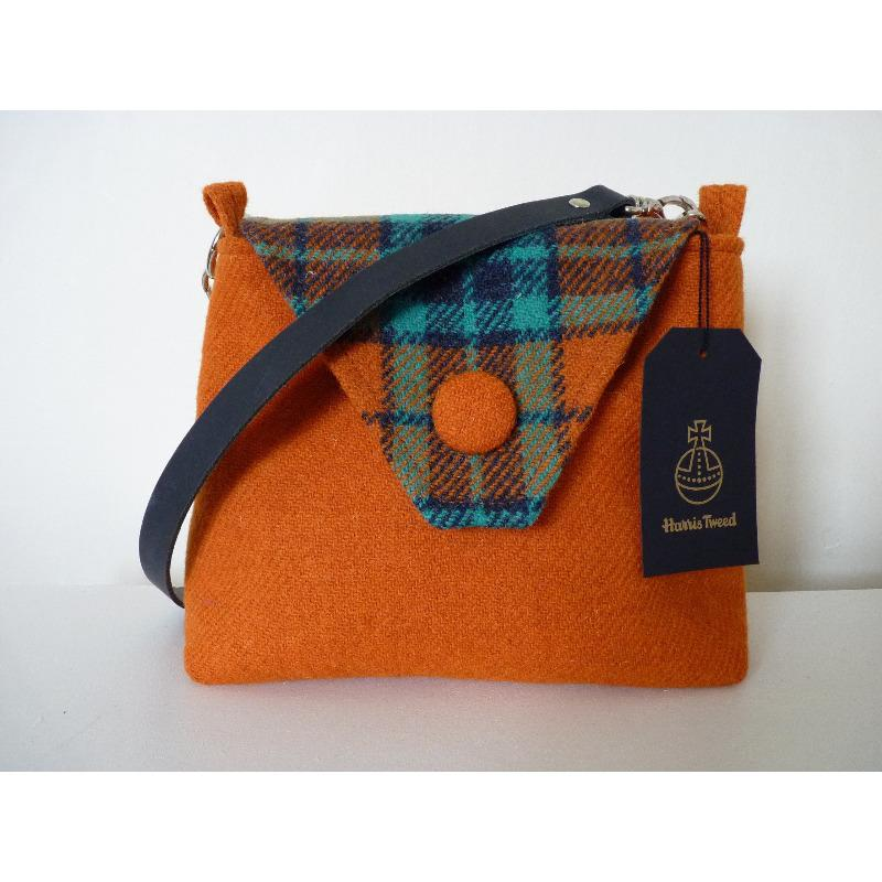 Harris Tweed Langthwaite Shoulder Bag – Orange & Check