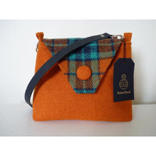 Load image into Gallery viewer, Harris Tweed Langthwaite shoulder bag, handbag – orange and check
