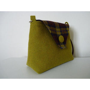 Harris Tweed Langthwaite shoulder bag, handbag – acid green and check