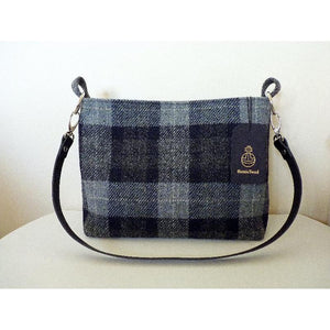 Harris Tweed Buckden Medium Tote Bag – Blue & Grey Check - Magnetic catch & standard strap - Magnetic catch & adjustable strap - Zipper & standard strap - Zipper & adjustable strap