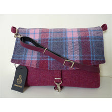 Load image into Gallery viewer, Harris Tweed bag, messenger bag, crossbody bag, tote bag in raspberry and blue multi check with a leather strap
