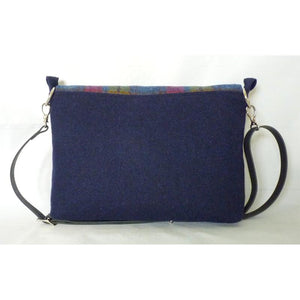 Harris Tweed Ingleborough Messenger Bag, Crossbody Bag - Blue & Multi Check