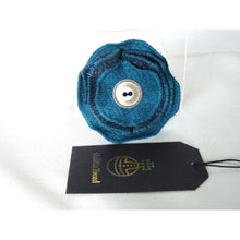 Load image into Gallery viewer, Harris Tweed folded layered brooch, corsage - teal and navy