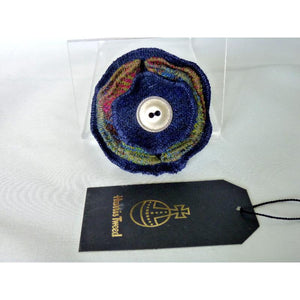 Harris Tweed Folded Layered Brooch, Corsage - Navy & Multi Check