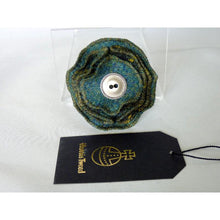 Load image into Gallery viewer, Harris Tweed Folded Layered Brooch, Corsage - Green & Gold Check