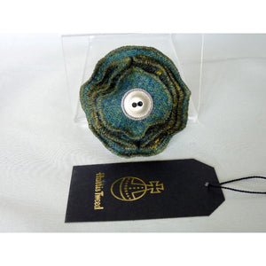 Harris Tweed Folded Layered Brooch, Corsage - Green & Gold Check