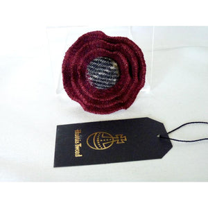 Harris Tweed Three Layer Brooch, Corsage - Burgundy