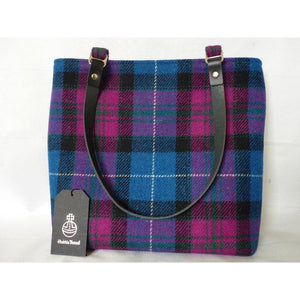 Harris Tweed Bedale Tote Bag - Bright Blue & Cerise Pink Check