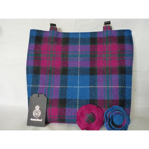 Handmade Harris Tweed Bedale tote/ shopping bag in bright blue and cerise check, black lining with a large zipped inner pocket and 3/4″ black leather straps