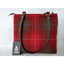 Load image into Gallery viewer, Harris Tweed Bedale Tote Bag - Red & Brown Check - Magnetic snap