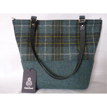 Load image into Gallery viewer, Harris Tweed Aysgarth large tote bag, shopping bag - green & gold check