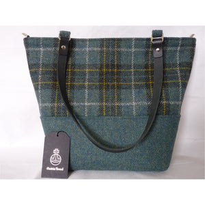 Harris Tweed Aysgarth large tote bag, shopping bag - green & gold check