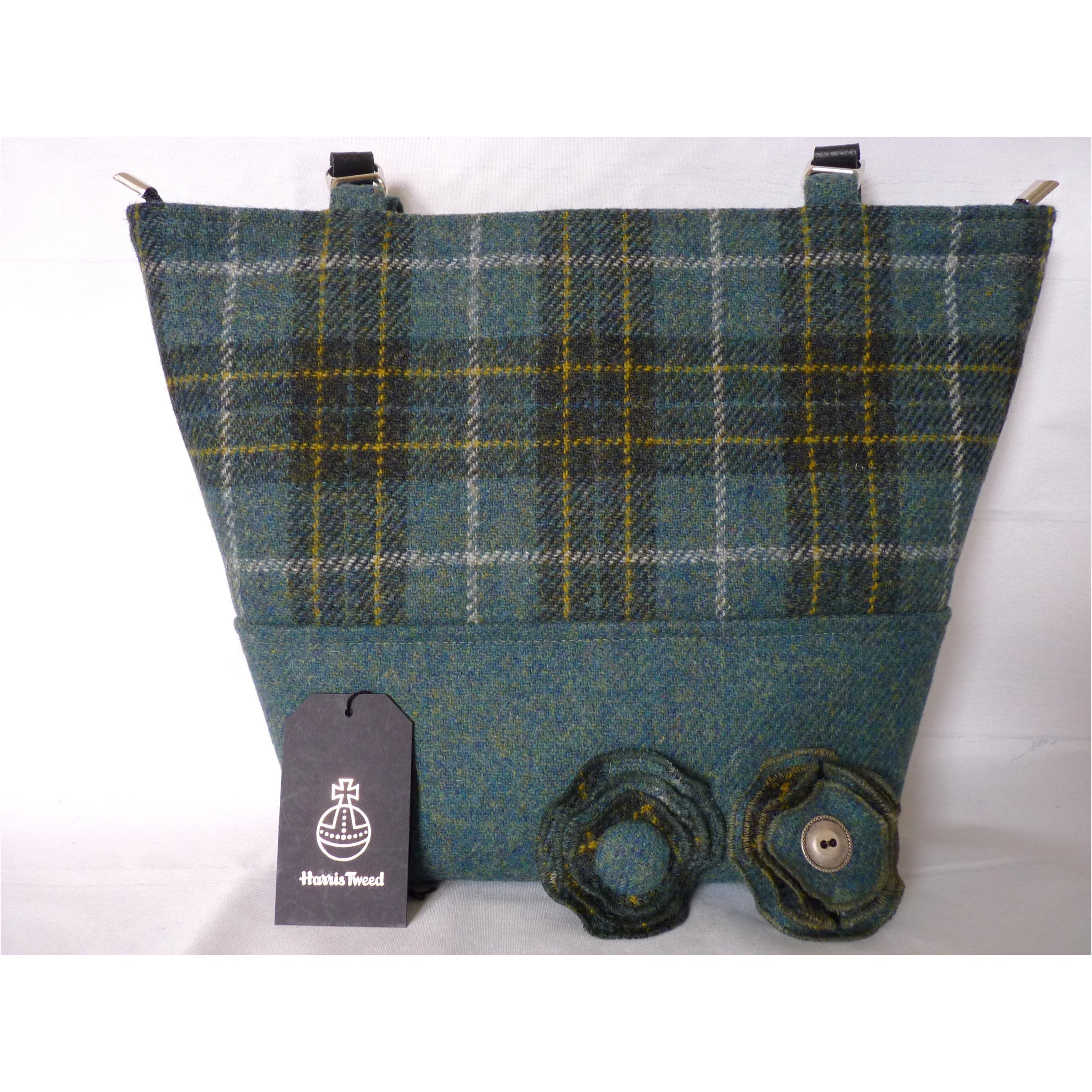 Handmade Harris Tweed Aysgarth two tone tote/ shopping bag made in beautiful green and gold check with a plain sea green base, black lining with a large zipped inner pocket and 3/4″ black leather straps