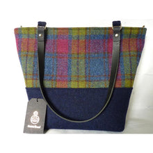 Load image into Gallery viewer, Harris Tweed Aysgarth Large Tote Bag - Blue & Multi Check - Magnetic snap