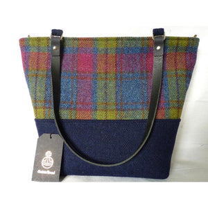 Harris Tweed Aysgarth Large Tote Bag - Blue & Multi Check - Magnetic snap
