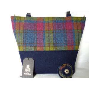 Handmade Harris Tweed Aysgarth two tone tote/ shopping bag made in beautiful blue based multi check with a plain french navy base, navy lining with a large zipped inner pocket and 3/4″ navy leather straps