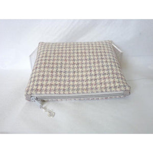 Harris Tweed cosmetic bag, makeup bag - cream, grey & pink houndstooth check