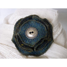 Load image into Gallery viewer, Harris Tweed brooch with two plain sea green and two folded green and gold check layers finished with a decorative pewter button.