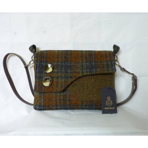 Harris Tweed Brancaster shoulder bag, crossbody bag – green, brown and grey check