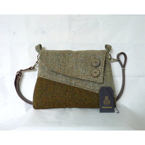Harris Tweed Sedgeford shoulder/ crossbody bag – green mix and herringbone