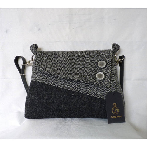 Harris Tweed Sedgeford shoulder/ crossbody bag – black & grey herringbone