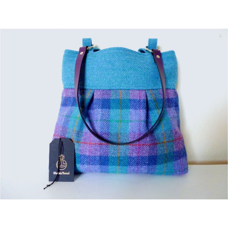 Harris Tweed bag, shoulder bag, tote bag in mint and purple check with toning bands and either purple or black leather straps
