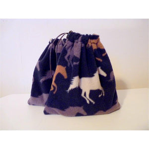 English stirrup iron covers, stirrup bags (1 pair) - navy horse print