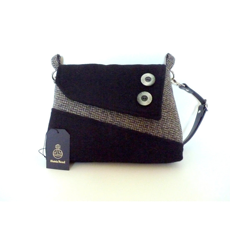 Harris Tweed bag, shoulder bag, crossbody bag in grey and lemon tile effect and black with a leather strap.