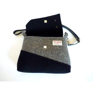 Harris Tweed Sedgeford Shoulder Bag, Crossbody Bag - Grey, Lemon & Black