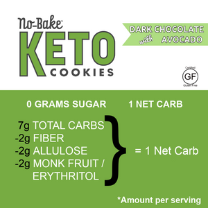 KETO No-Bake Cookies Bite Size & Bakery Fresh - 4 Dark Chocolate Avocado