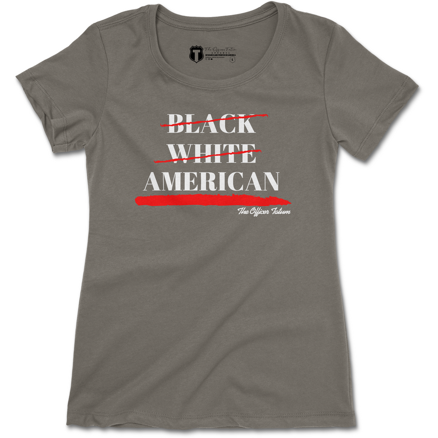 Black, White, American Womens Shirt