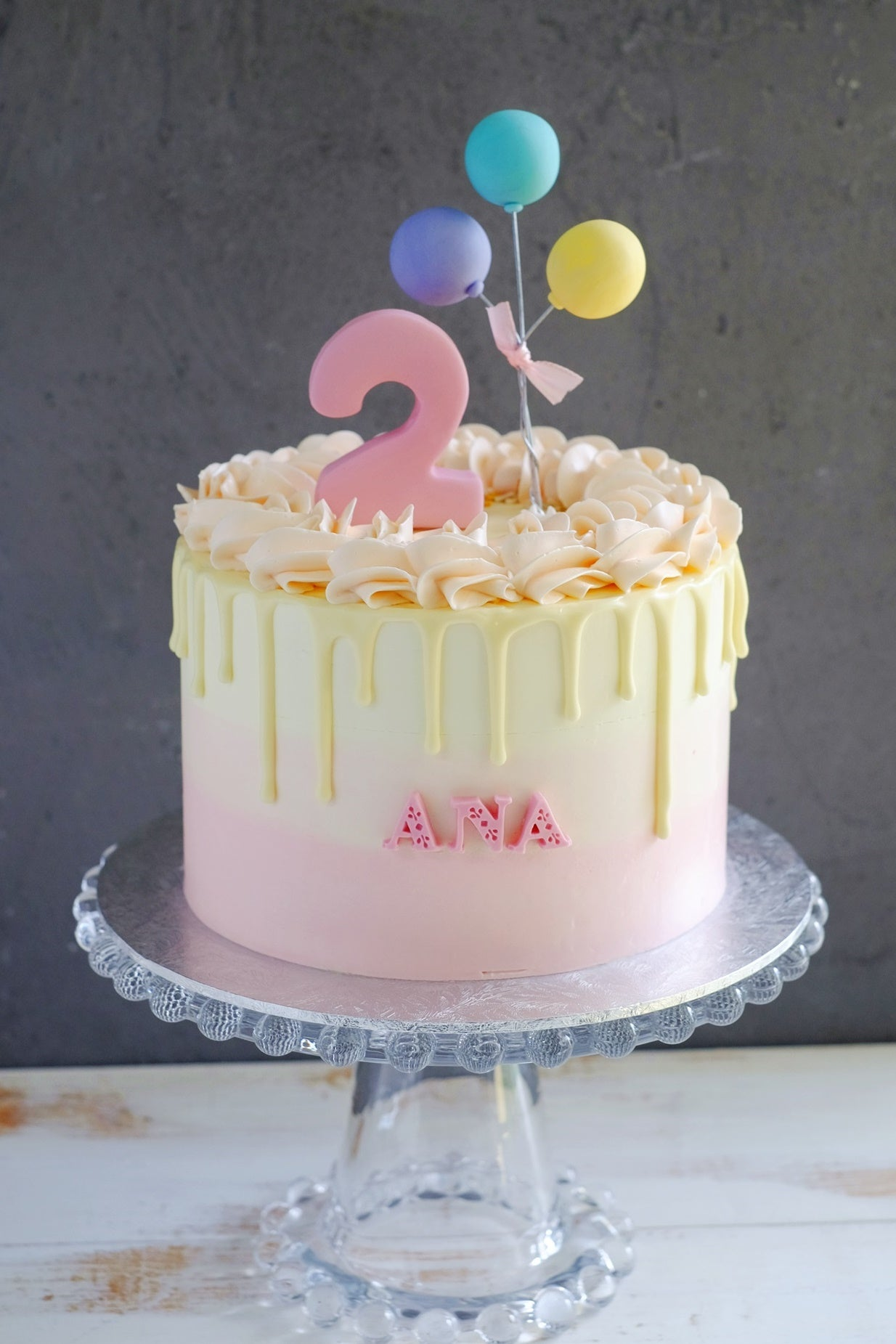 Ombre Cake with Fondant Balloons