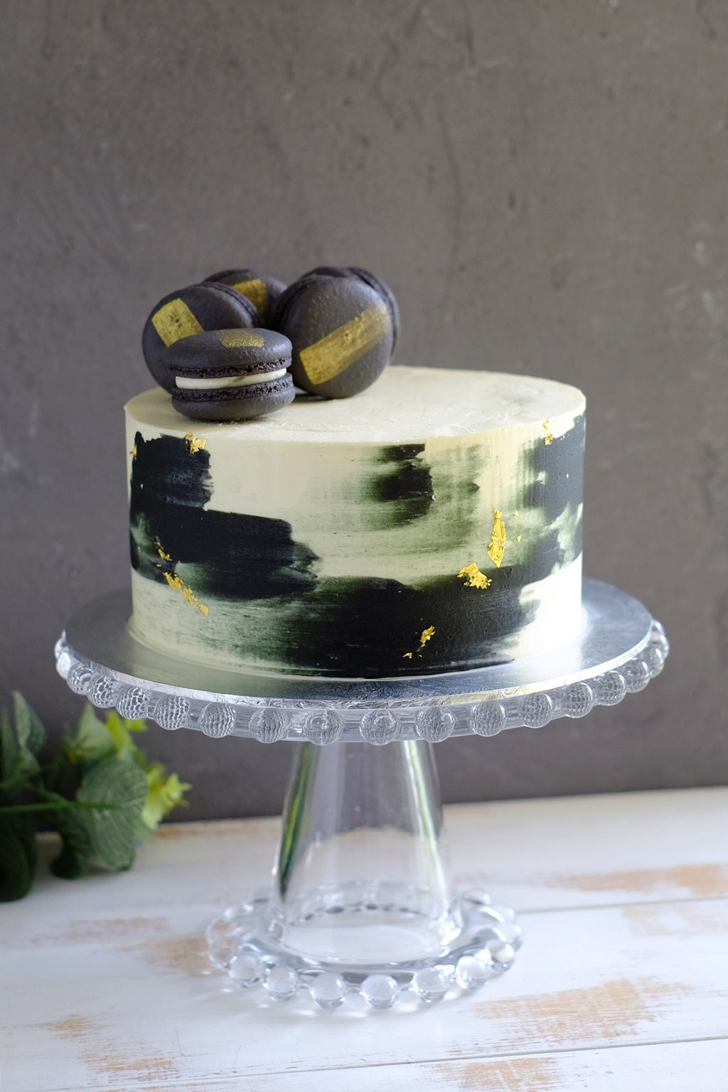 Black Gold Watercolor Macaron Cake